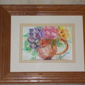 New Original Tea Cup Floral watercolor painting